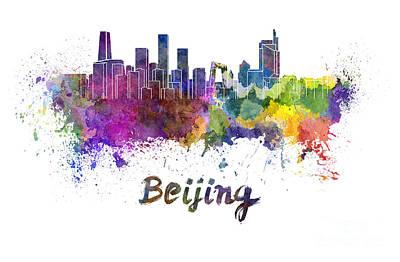Beijing Painting - Beijing Skyline In Watercolor by Pablo Romero