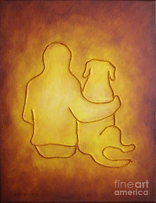 Painting - Being There 2 - Dog And Friend by Amy Reges
