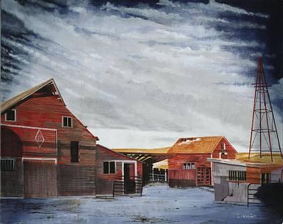 Barn Painting - Beitelspacher Barn Linton North Dakota by David Wolfer