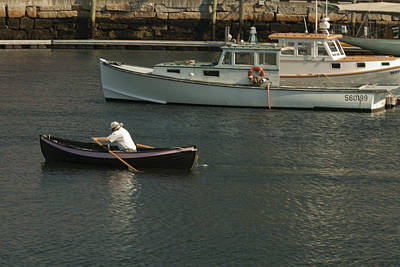 Photograph - Belfast Maine Rowing Out To His Lobster Boat Img5961 by Greg Kluempers