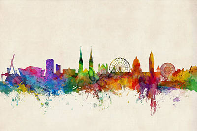 Great Britian Digital Art - Belfast Northern Ireland Skyline by Michael Tompsett