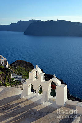 Sea Photograph - Traditional Belfry In Santorini Island by George Atsametakis