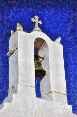 Painting - Belfry In Ios Island by George Atsametakis