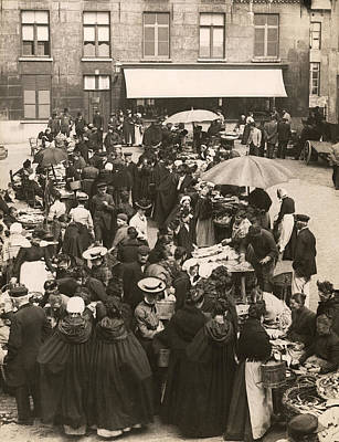 Fish Food Photograph - Belgian Fish Market by Underwood Archives