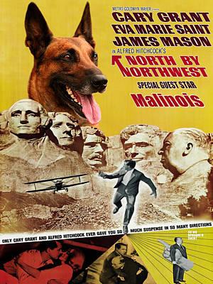 Belgian Malinois Painting - Belgian Malinois Art Canvas Print - North By Northwest Movie Poster by Sandra Sij