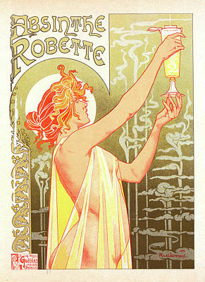 Belgian Poster For L Absinthe Robette Art Print by Liszt Collection