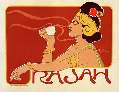 Affiche Drawing - Belgian Poster For Le Café Rajah by Liszt Collection