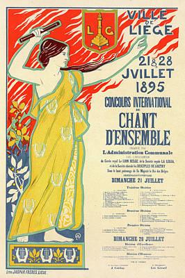 Belgian Poster For Le Concours International De Chant Art Print by Liszt Collection