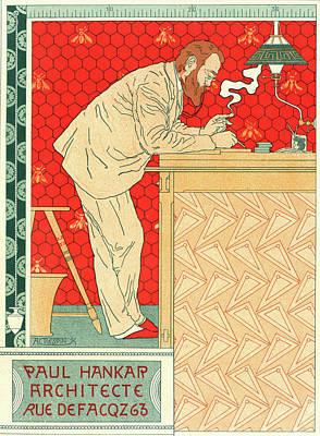 Belgian Poster For M. Paul Hankar Art Print by Liszt Collection