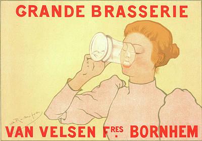 Belgian Poster. Grande Brasserie Van Velsen Frères Art Print by Liszt Collection