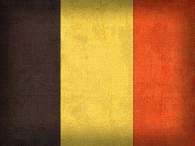 Brussels Mixed Media - Belgium Flag Vintage Distressed Finish by Design Turnpike