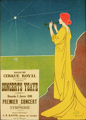 Belgium Drawing - Belgium Poster For Concerts Ysaye Brussel, Ysaye Concerts by Liszt Collection