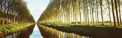 Belgium Photograph - Belgium, Tree Lined Waterway by Panoramic Images