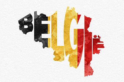 Abstract Map Mixed Media - Belgium Typographic Map Flag by Ayse Deniz