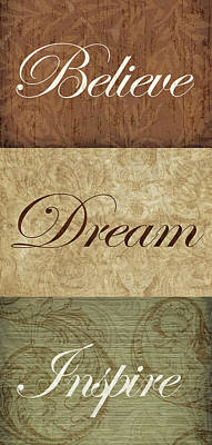 Inspire Painting - Believe Dream Inspire by Lisa Wolk
