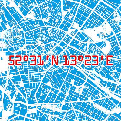 Berlin Map Blue Art Print by Big City Artwork