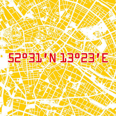 Gelb Digital Art - Berlin Map Yellow by Big City Artwork