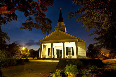 Photograph - Belin Memorial Umc After Dark by Bill Barber