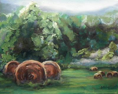 Bales Painting - Beliveau Hay Rolls by Donna Tuten