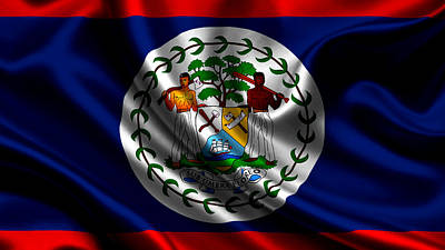 Flags Photograph - Belize Flag by VRL Art