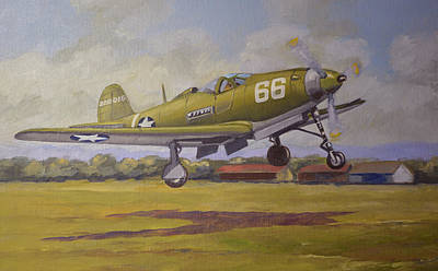 Us Army Fighters Painting - Bell Airacobra by Murray McLeod