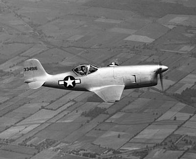 In Flight Photograph - Bell Aircraft Xp-77 by Underwood Archives