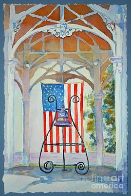 Bell And Flag Art Print by Mary Haley-Rocks