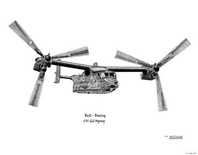 Osprey Drawing - Bell-boeing Cv-22b Osprey by Arthur Eggers