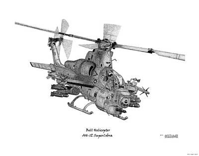 Art Print featuring the drawing Bell Helicopter Ah-1z Supercobra by Arthur Eggers