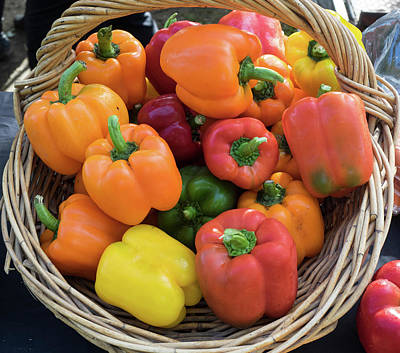 Bell Peppers For Sale At Street Market Art Print by Panoramic Images