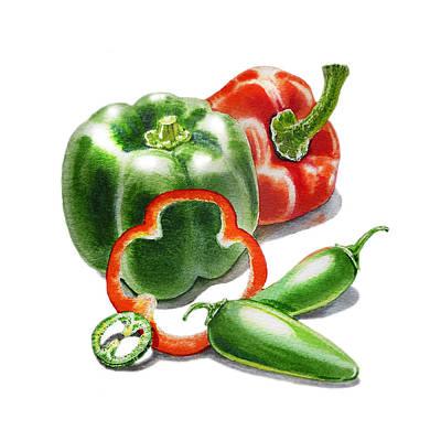 Spice Painting - Bell Peppers Jalapeno by Irina Sztukowski