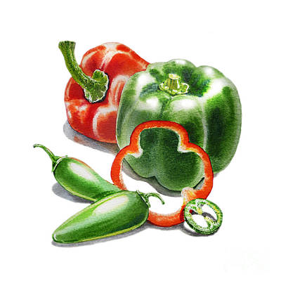 Bell Pepper Painting - Bell Peppers Jalapenos  by Irina Sztukowski