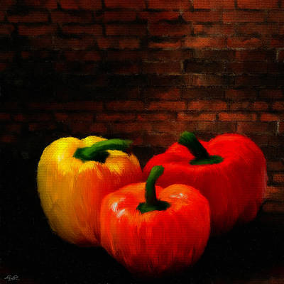Garlic Digital Art - Bell Peppers by Lourry Legarde