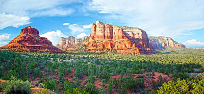 Digital Art - Bell Rock And Courthouse Butte Panorama by Steven Barrows