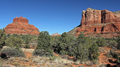 Art Print featuring the photograph Bell Rock And Courthouse Butte by Penny Meyers