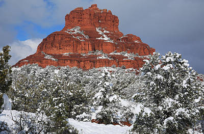 Oak Creek Photograph - Bell Rock With Snow by Donna Kennedy