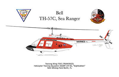 Digital Art - Bell Th-57c Sea Ranger by Arthur Eggers