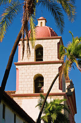 Bell Tower And Palms At The Santa Art Print