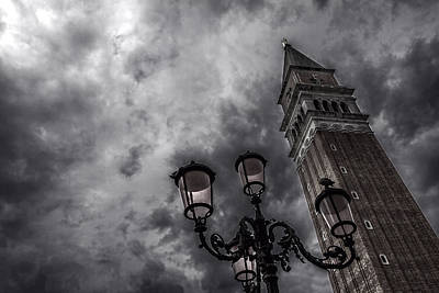 Photograph - Bell Tower And Street Lamp by Roberto Pagani