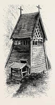 Church Bells Drawing - Bell-tower, Borgund Church. Borgund Is A Village And Former by Jordanian School