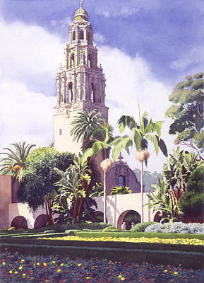 California Wall Art - Painting - Bell Tower In Balboa Park by Mary Helmreich