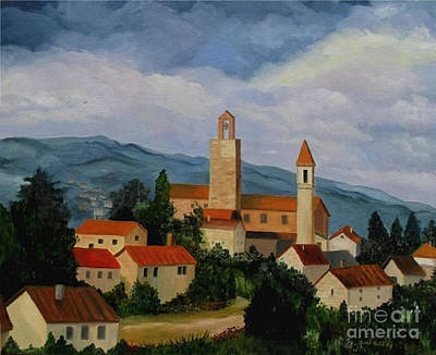 Art Print featuring the painting Bell Tower Of Vinci by Julie Brugh Riffey