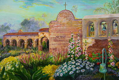 Arch Shapes Painting - Bell Wall Facade At Mission San Juan Capistrano by Jan Mecklenburg