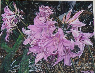 Amaryllis Watercolor Painting - Belladonna Lily by Michiko Kohagura