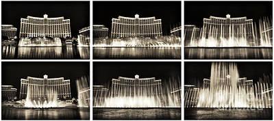 Bellagio Fountain Dance Collage Art Print