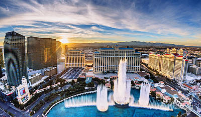 Photograph - Bellagio Fountains At Sunset 6 To 3.5 Aspect Ratio by Aloha Art