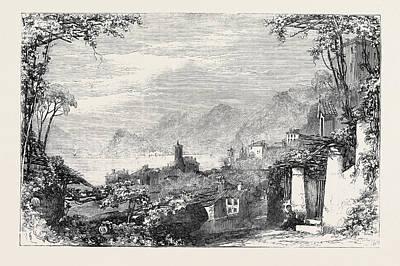Lake Como Drawing - Bellagio From Menaggio Lake Of Como by English School