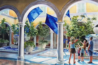 Painting - Bellagio Kite Flight by Carolyn Coffey Wallace