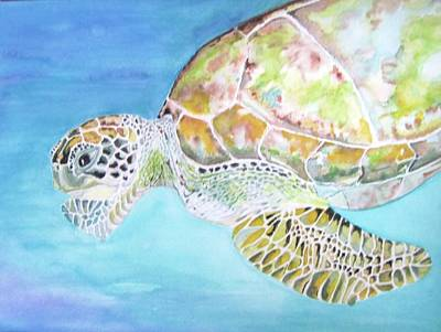 Green Sea Turtle Painting - Bella's Lone Turtle by Viviana Ziller