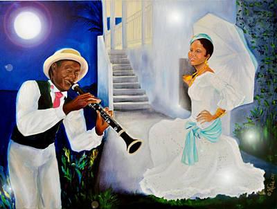 Caribbean Abstract Painting - Belle Creole Aqua Blue by KCatia Creole Art